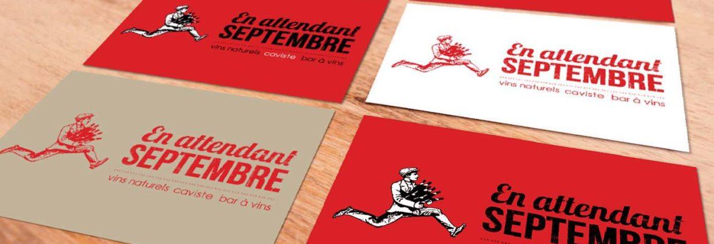 Carte de visite En attendant septembre caviste bar à vin identité visuel logo illustration