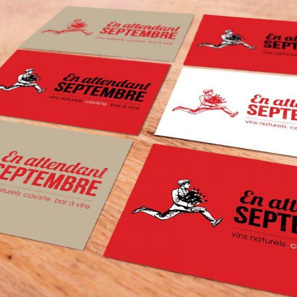"""Carte de visite """"En attendant septembre"""""""